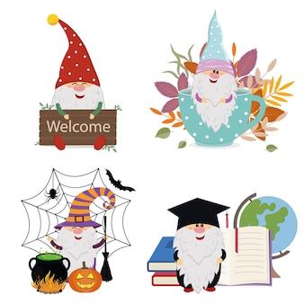 Set van schattige gnomes-personages, kleur vectorillustratie