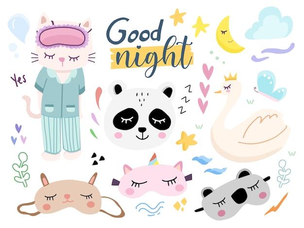 Set van schattige goede nacht oogmasker cartoon afbeelding