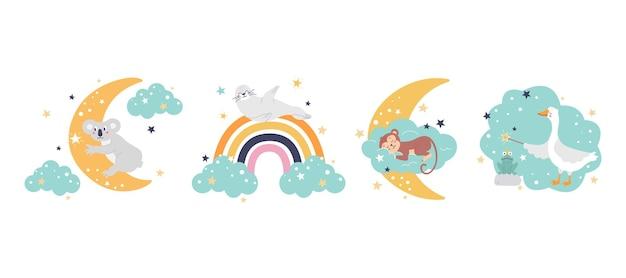 Set van schattige grappige dieren met een maan, een wolk en een regenboog kant-en-klare vectorafdrukken