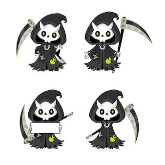 Set van schattige grim reaper met zeis