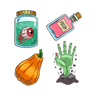 Set van schattige halloween iconen.