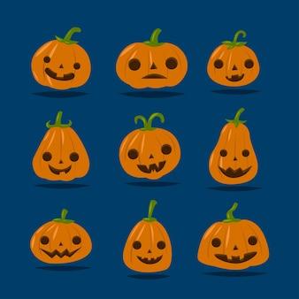 Set van schattige halloween-pompoen met verschillende gezichten