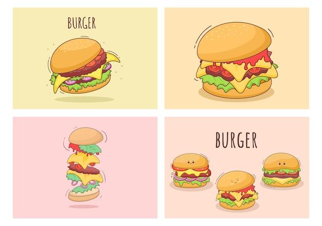 Set van schattige hamburger fastfood achtergrond vectorillustratie