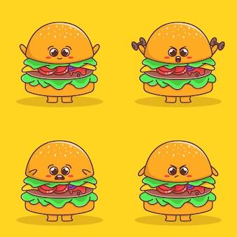 Set van schattige hamburgerillustratie Premium Vector