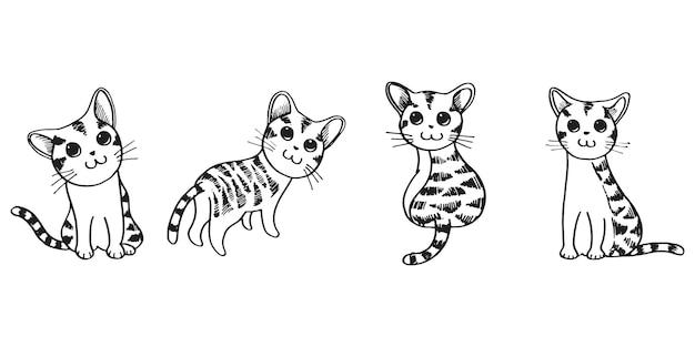 Set van schattige hand getrokken doodle kittens. gezelschapsdier vectorillustratie.