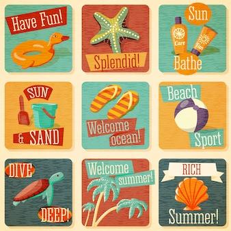 Set van schattige heldere zomer emblemen met typografische elementen. vector.