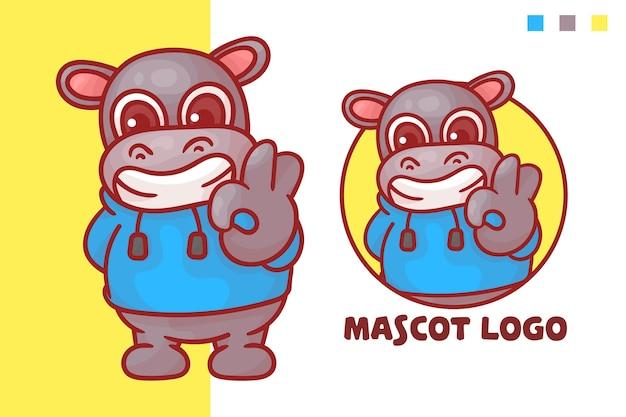 Set van schattige hippo-mascotte-logo met optioneel uiterlijk.