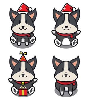Set van schattige hond. dier concept geïsoleerd. platte cartoon stijl