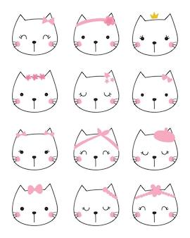 Set van schattige hoofd kat vector.