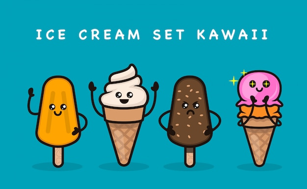 Set van schattige ijs mascotte ontwerp illustratie