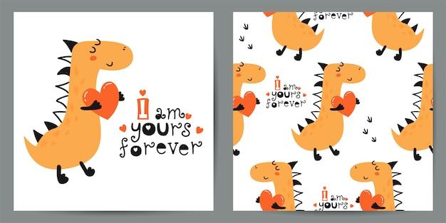 Set van schattige illustratie en naadloze patroon met dinosaurussen