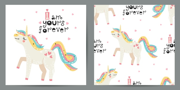 Set van schattige illustratie en naadloze patroon met eenhoorns