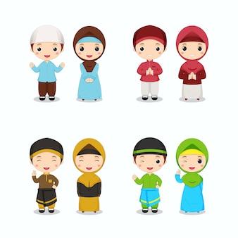 Set van schattige islamitische jongen in kleurrijk thema