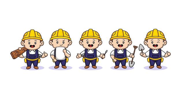 Set van schattige jongen met bouwvakker kostuum mascotte ontwerp