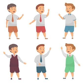 Set van schattige jongen schooluniform illustratie
