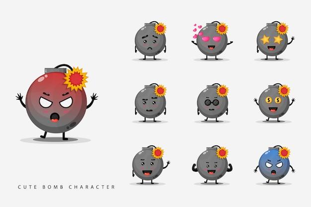 Set van schattige karakter bommen