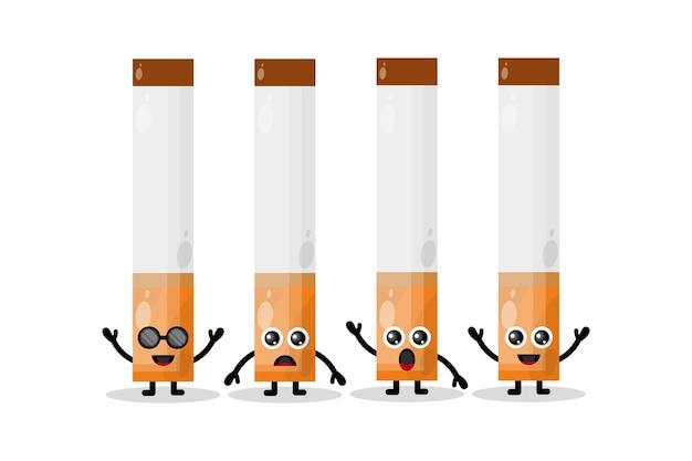 Set van schattige karakters van sigaretten