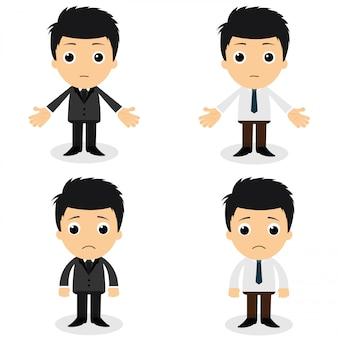 Set van schattige karakters zakenman en kantoor werknemer vormt in verschillende
