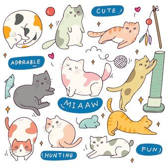 Set van schattige kat met verschillende poses