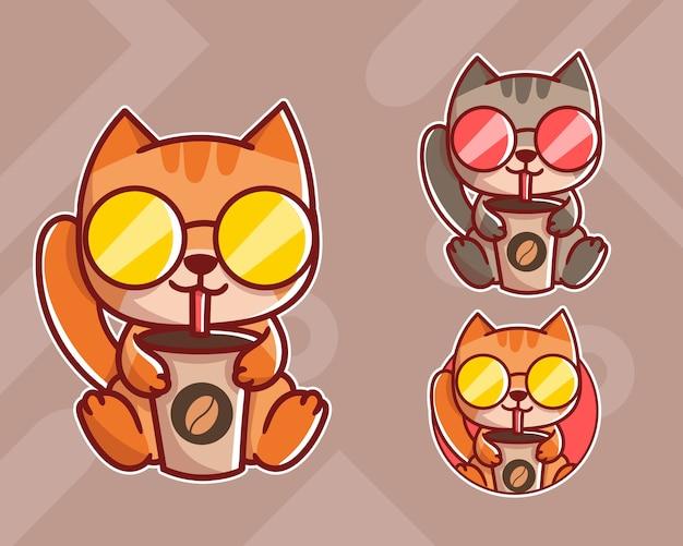 Set van schattige kattenkoffie mascotte-logo met optioneel uiterlijk.