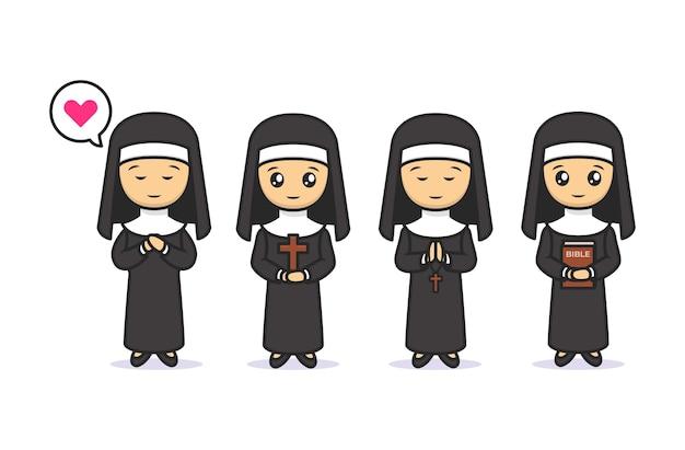 Set van schattige kawaii non christian mascotte ontwerp illustratie