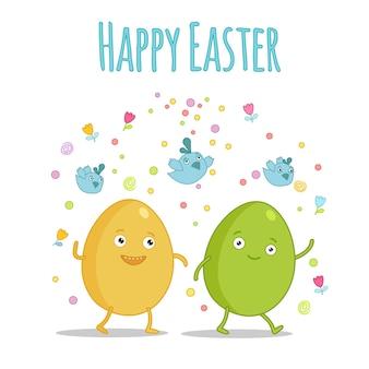 Set van schattige kawaii pasen stripfiguren met belettering. paassnoepjes, eieren, konijn en kuiken. mooie kawaii vectorillustratie voor wenskaart poster sticker. gelukkig pasen belettering.