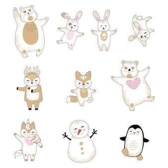 Set van schattige kerst dieren stripfiguren. vectorillustratie geïsoleerd op een witte achtergrond.