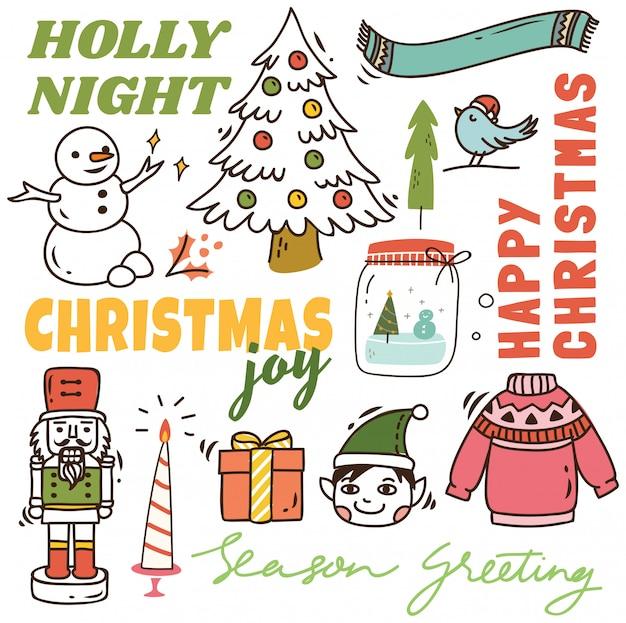 Set van schattige kerst doodle achtergrond
