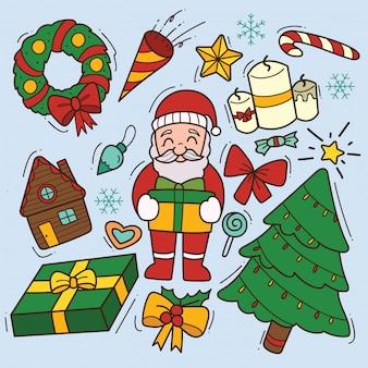 Set van schattige kerst doodle