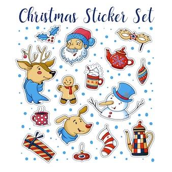 Set van schattige kerst stickers met santa