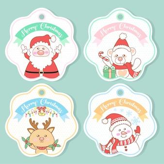 Set van schattige kerst tags