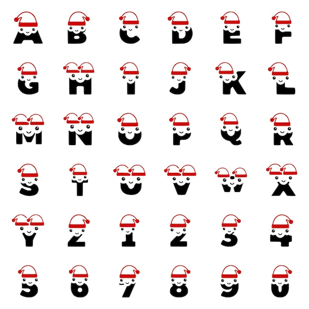 Set van schattige kerstkarakters in de vorm van letters en cijfers