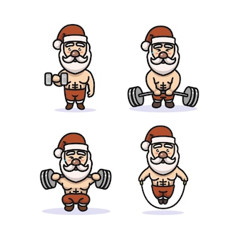 Set van schattige kerstman met fitness kostuum