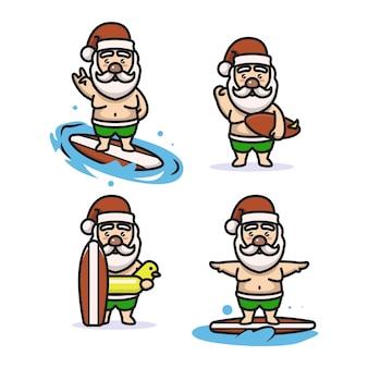Set van schattige kerstman met surfkostuum