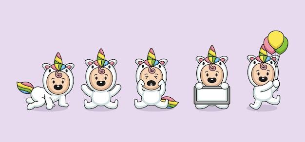 Set van schattige kinderen met eenhoorn mascotte logo-ontwerp