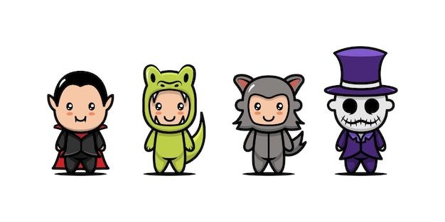 Set van schattige kinderen met halloween kostuum ontwerp pictogram illustratie