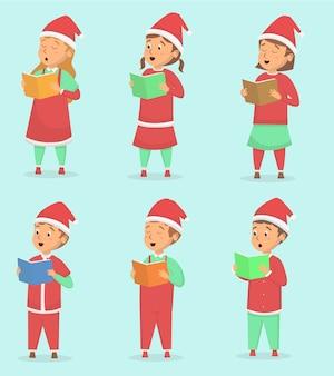 Set van schattige kinderen zingen bij kerst seizoen illustratie