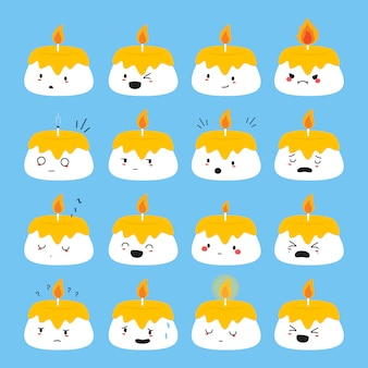 Set van schattige kleine kaarsen vector met grappige gezichten