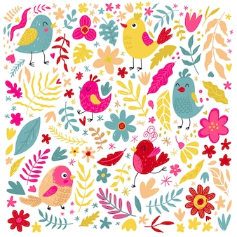 Set van schattige kleine vogels bloemen en kruiden natuur en lente print