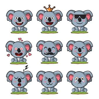 Set van schattige koala-emoticons met verschillende uitdrukkingen