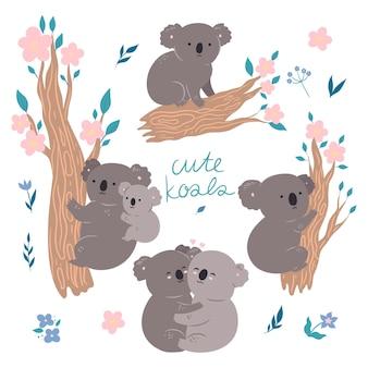 Set van schattige koala's geïsoleerd op een witte achtergrond. vectorafbeeldingen.
