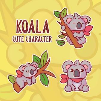 Set van schattige koalakarakters met optioneel uiterlijk.