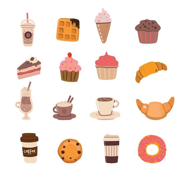 Set van schattige koffie en desserts karakters in trendy kawaii-stijl. neem kopjes, mokken en bonen met warme drank mee.