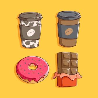 Set van schattige koffie met melk, chocolade en donut