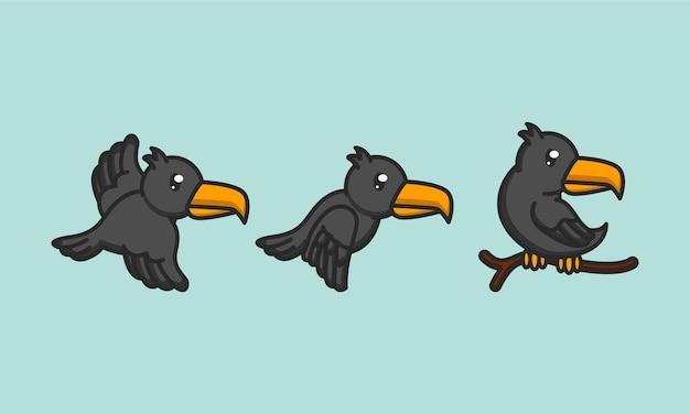 Set van schattige kraai raven vogels