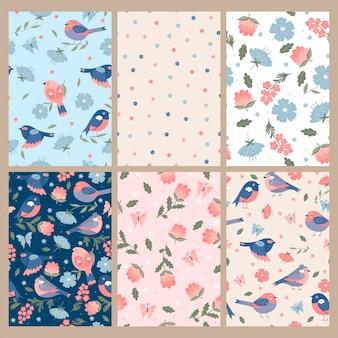 Set van schattige lente naadloze patronen met vogels en bloemen