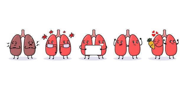 Set van schattige longen orgel mascotte ontwerp