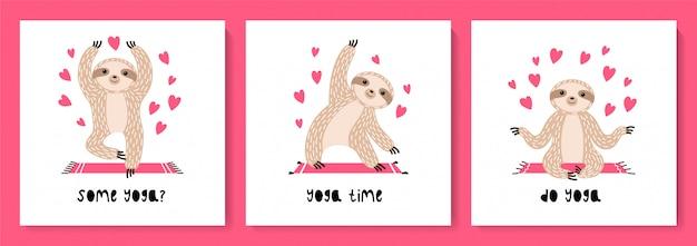 Set van schattige luiaards in asana's die yoga doen