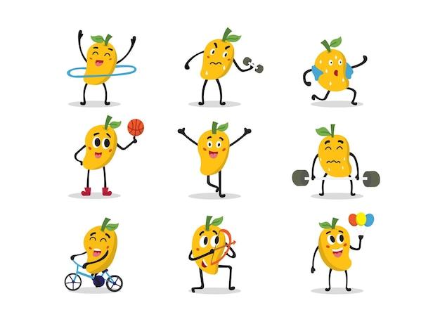 Set van schattige mango karakters in verschillende poses