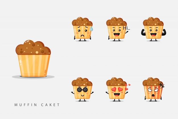 Set van schattige mascotte muffins